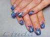 Ноктопластика - изграждане с акрил, с рисунки в синьо
