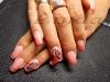 Поддръжка на ноктопластика с акрил - с оранжев и розов брокат и малко декорации с боички