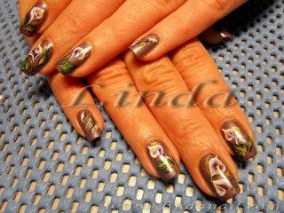Декоративен маникюр - рисунки на кала върху естествени нокти