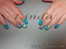 Поддръжка на ноктопластика - с гел и рисунки на два от ноктите