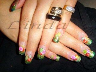 Поддръжка на ноктопластика, с вграждане на цветя и плодчета
