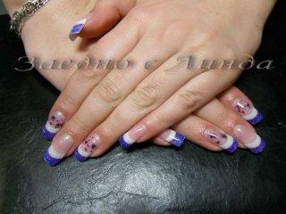"""Курс по """"Ноктопластика с гел"""" - удължител и гел, с добавяне на два от пръстите сухоцвет и люспички"""