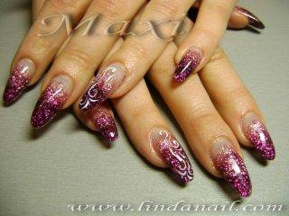 Ноктопластика - изграждане с акрил, с вграден розов и тъмно-лилав брокат и рисунки с бяла боичка