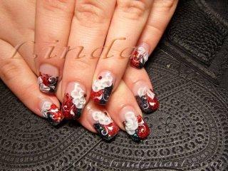 Поддръжка на ноктопластика - с вграждане на червен и черен брокат и релефни цветя върху покривен гел